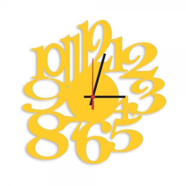 Relógio de Parede Decorativo Premium Números Vazados Amarelo
