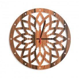 Relógio de Parede Decorativo Premium Mandala Vazado Amadeirado