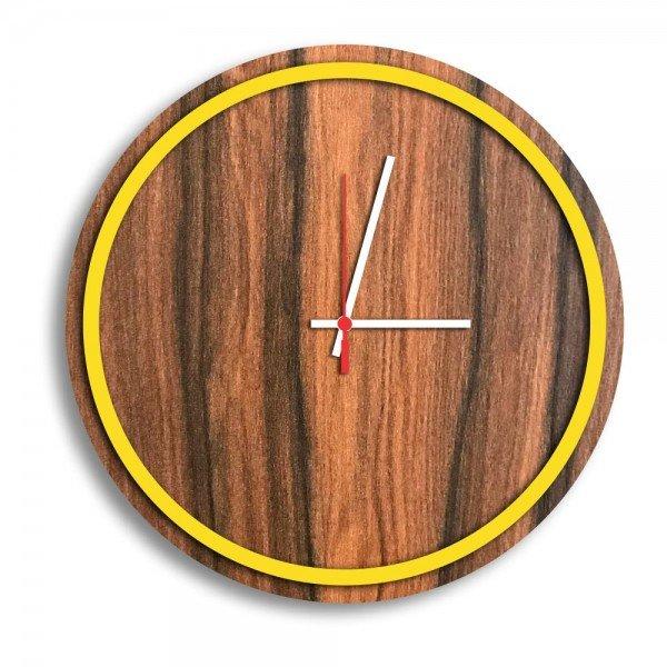Relógio de Parede Decorativo Premium Minimalista Amadeirado com Borda Amarela em Relevo
