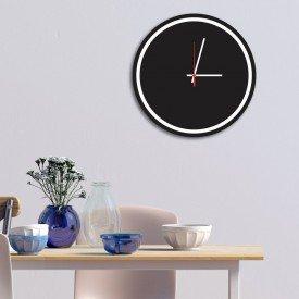 Relógio de Parede Decorativo Premium Minimalista Preto Ônix com Borda Branca em Relevo