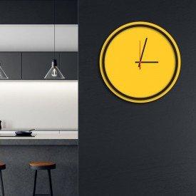 Relógio de Parede Decorativo Premium Minimalista Amarelo com Borda Preta em Relevo