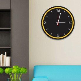 Relógio de Parede Decorativo Premium Preto Ônix com Borda Amarela em Relevo