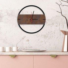 Relógio de Parede Decorativo Premium Slim Preto Ônix com Detalhe Corten em Relevo