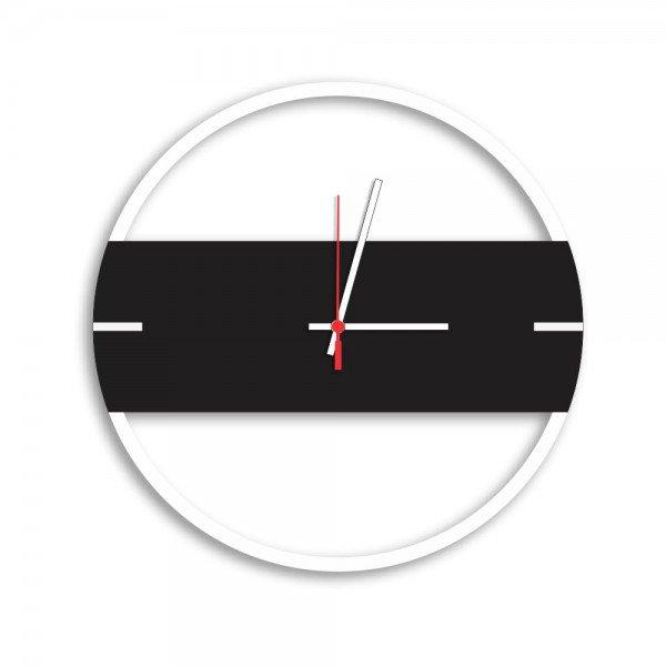 Relógio de Parede Decorativo Premium Slim Branco com Detalhe Preto Ônix em Relevo