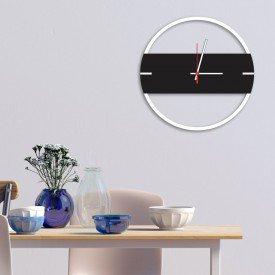 Relógio de Parede Decorativo Premium Slim Ágata com Detalhe Preto Ônix em Relevo