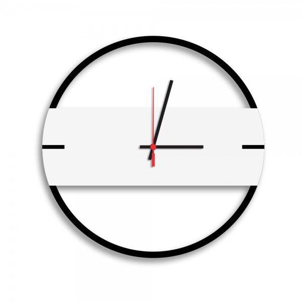 Relógio de Parede Decorativo Premium Slim Preto Ônix com Detalhe Branco em Relevo