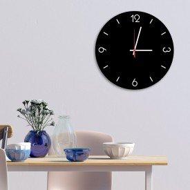Relógio de Parede Decorativo Premium Preto Ônix com Números em Relevo