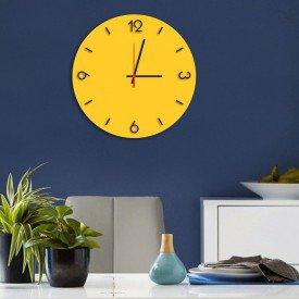Relógio de Parede Decorativo Premium Amarelo com Números em Relevo