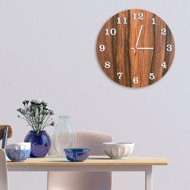 Relógio de Parede Decorativo Premium Amadeirado com Números em Relevo Branco
