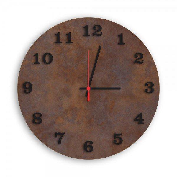 Relógio de Parede Decorativo Premium Corten com Números em Relevo Preto Ônix