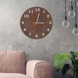 Relógio de Parede Decorativo Premium Corten com Números em Relevo Branco