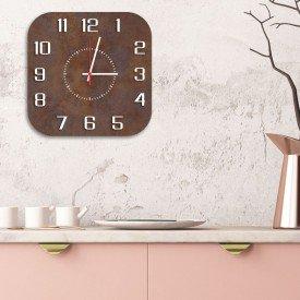 Relógio de Parede Decorativo Premium Quadrado com Números em Relevo Corten