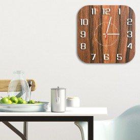 Relógio de Parede Decorativo Premium Quadrado com Números em Relevo Amadeirado