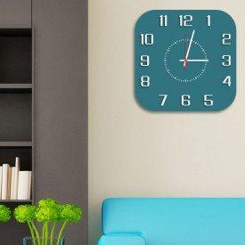 Relógio de Parede Decorativo Premium Quadrado com Números em Relevo Ágata
