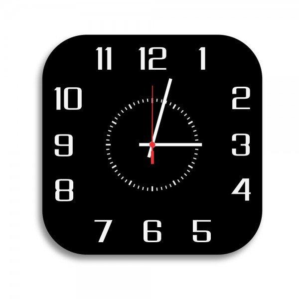 Relógio de Parede Decorativo Premium Quadrado com Números em Relevo Preto Ônix