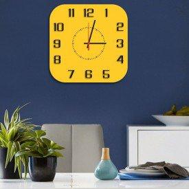 Relógio de Parede Decorativo Premium Quadrado com Números em Relevo Amarelo