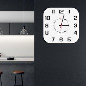 Relógio de Parede Decorativo Premium Quadrado com Números em Relevo Branco