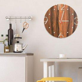 Relógio de Parede Decorativo Premium Amadeirado com Números Vazados