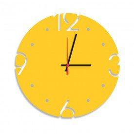 Relógio de Parede Decorativo Premium Amarelo com Números Vazados