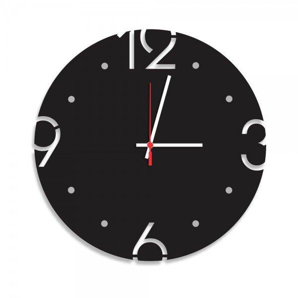 Relógio de Parede Decorativo Premium Preto Ônix com Números Vazados