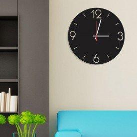 Relógio de Parede Decorativo Premium Números Vazados Preto Ônix