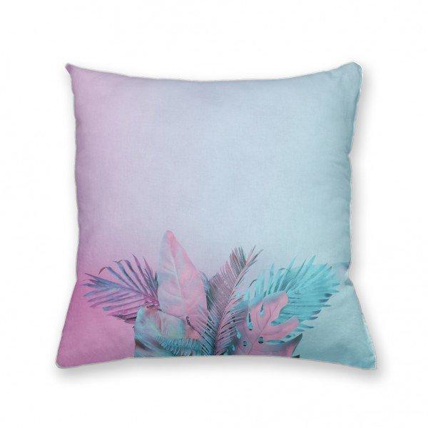 Almofada Decorativa Own Folhas Rosa e Azul