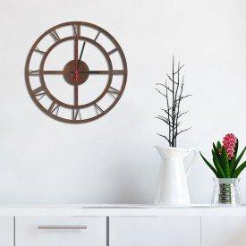 Relógio de Parede Decorativo Premium Números Romanos Vazado Corten