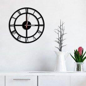 Relógio de Parede Decorativo Premium Números Romanos Vazado Preto Ônix
