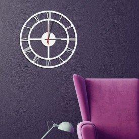 Relógio de Parede Decorativo Premium Números Romanos Vazado Branco