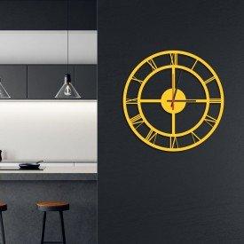 Relógio de Parede Decorativo Premium Números Romanos Vazado Amarelo