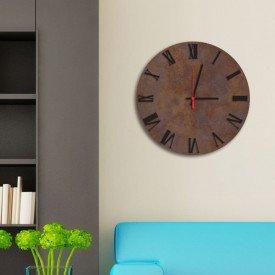 Relógio de Parede Decorativo Premium Corten com Números Romanos em Relevo Preto Ônix