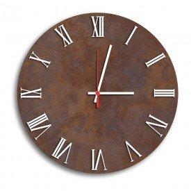 Relógio de Parede Decorativo Premium Corten com Números Romanos em Relevo Branco