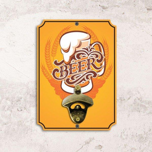 Abridor de Garrafas de Parede Beer Amarelo