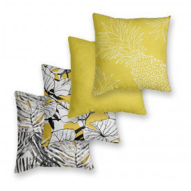 Kit 4 Almofadas Decorativas Tropical Amarelo