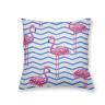 Almofada Decorativa Own Flamingos Fundo Chevron Azul