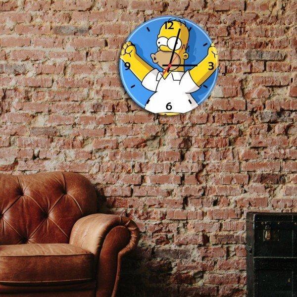 relogio de parede decorativo homer simpson comemorando reldiv008