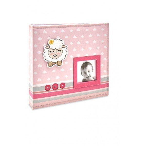 alb815 album bebe tecido rosa ovelha menina 200 fotos 10x15
