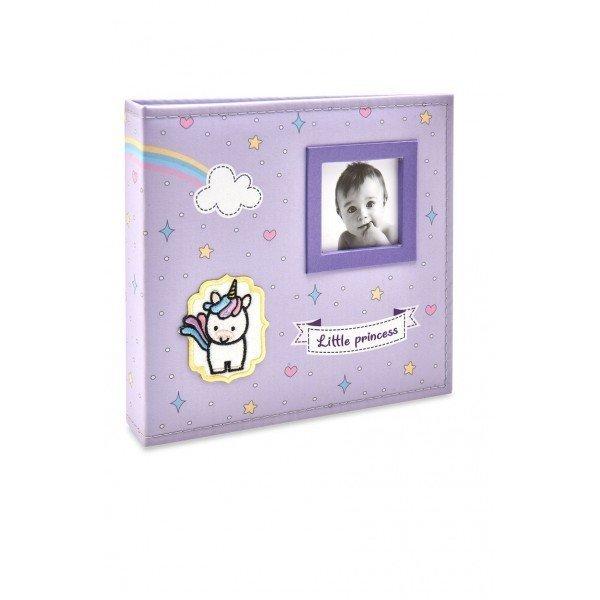 alb814 album bebe tecido lilas unicornio menina 200 fotos 10x15
