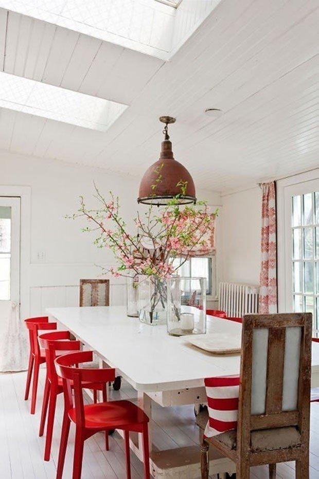 salas de jantar vermelha prego e martelo