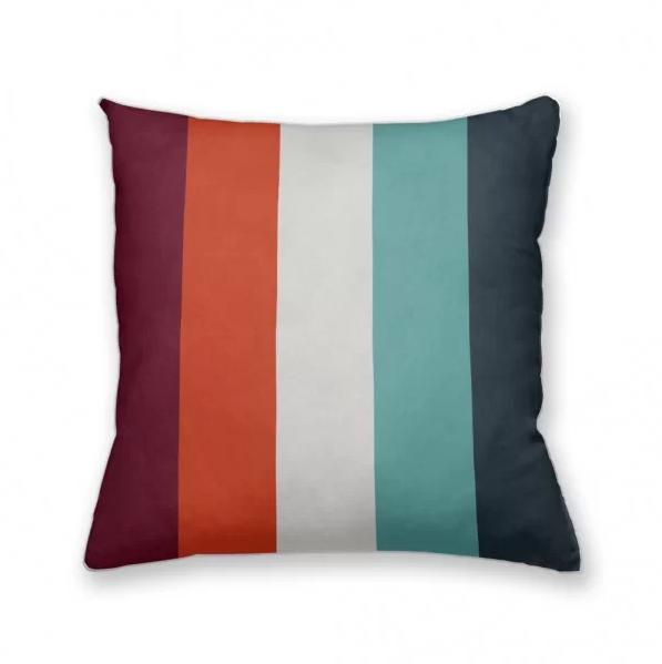 almofada decorativa own listras laranja e azul prego e martelo
