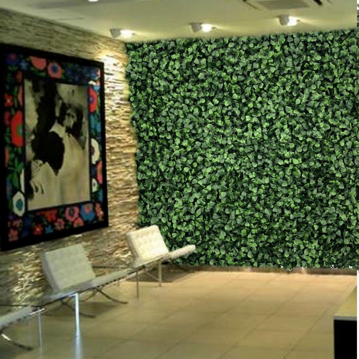 plantas artificiais p revestimento parede prego e martelo