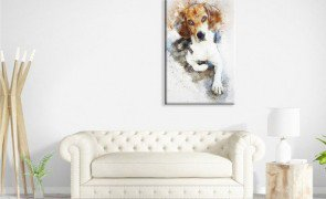 tela em canvas decorativa beagle aquarela modern tani010cf