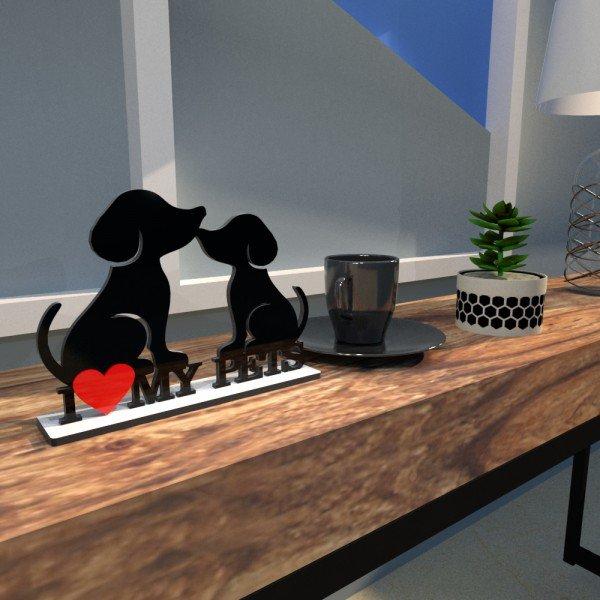 escultura mesa 2 cachorros