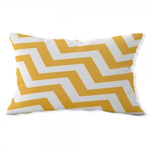 almofada baguete own chevron amarela e branca