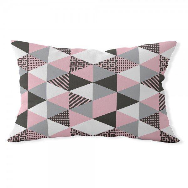 almofada baguete triangulos rosa e cinza