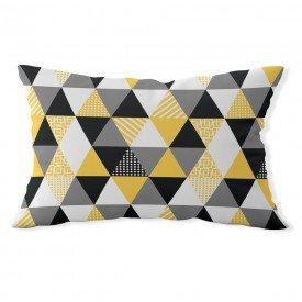 almofada baguete own triangulos amarela e cinza