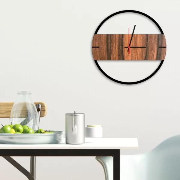 relogio de parede decorativo premium slim preto onix com detalhe amadeirado em relevo relpre021cf