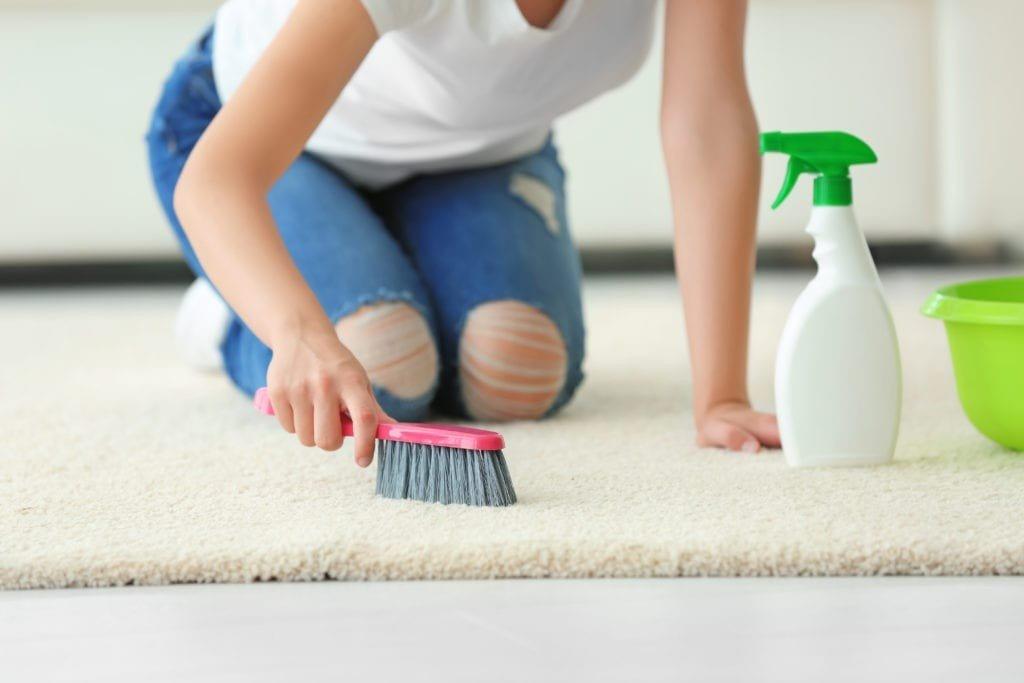 limpeza tapete prego e martelo
