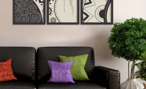 kit 3 quadros decorativos etnico preto e branco qcul004cfpreto23