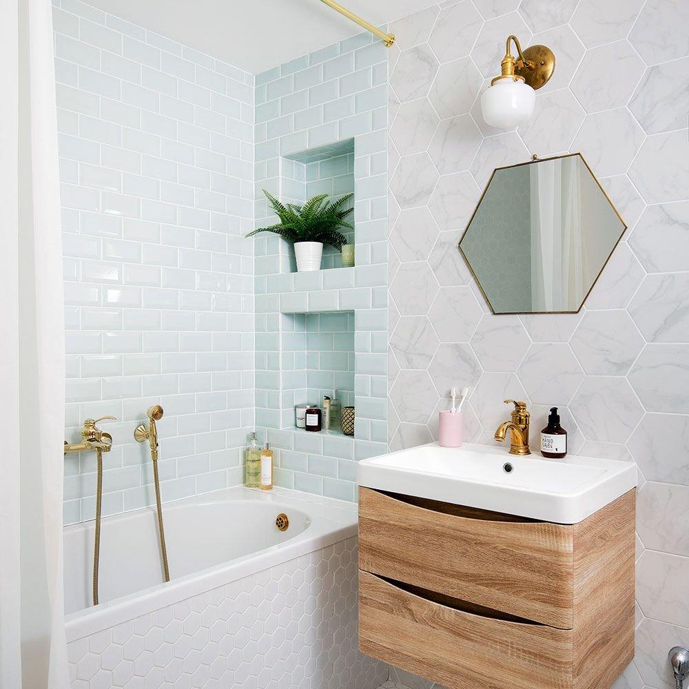 banheiro espelho hexagono prego e martelo